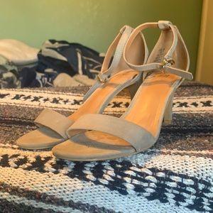 Grey suede kitten heels